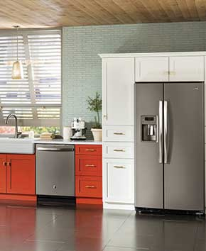 silver refrigerator and dishwasher