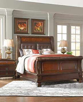 81792eede41 bedroom with elegant brown bedframe and dressers