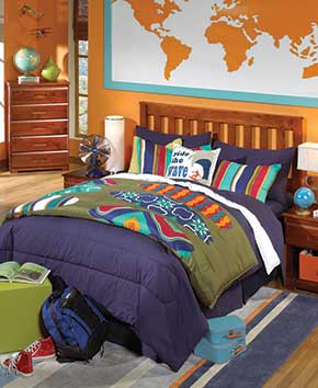 Youth bedroom with geology theme and wood furniture