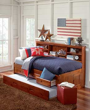 patriotic youth bed with pullout and wood bedframe