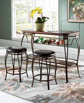 glass dining table with two stools