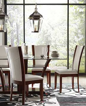 nice glass dining room table with wood chairs and white padding