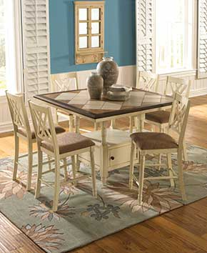white dining room table with six chairs