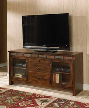 brown wood entertainment center with flat-screen TV