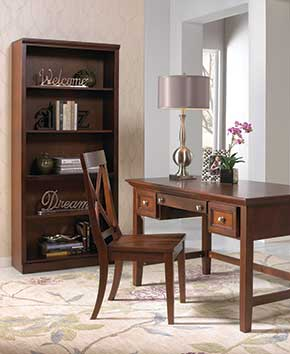 modern dark wooden bookcase and desk with chair