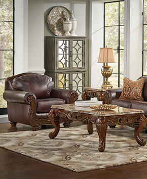 coffee table and brown leather living room furniture