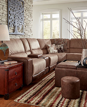 light brown sectional with matching ottoman