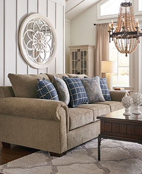 Beige living room sofa