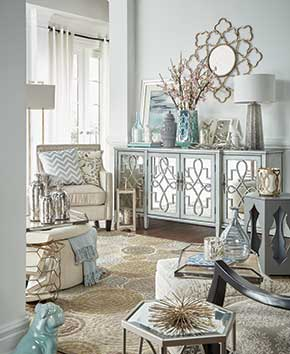 white, gold, and light blue living room furniture