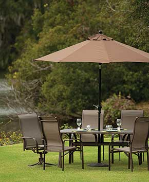 patio and lawn furniture with umbrella
