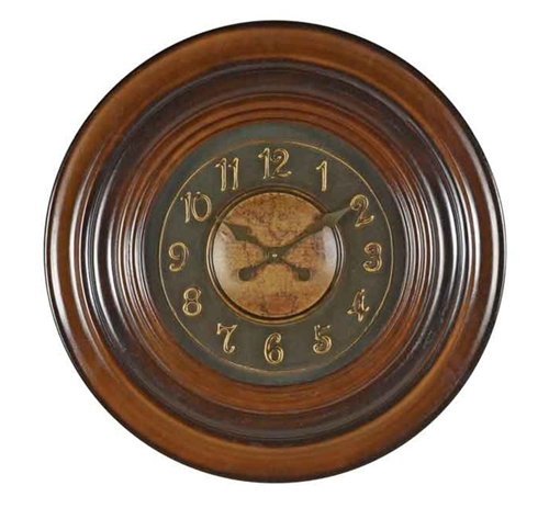 Picture of CHERRY MAP WALL CLOCK