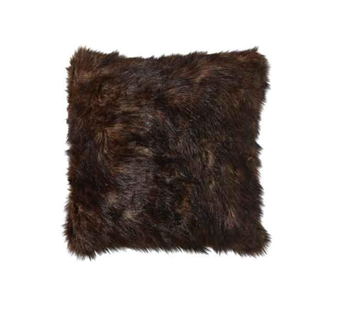Picture of BROWN FAUX MINK ACCENT PILLOW