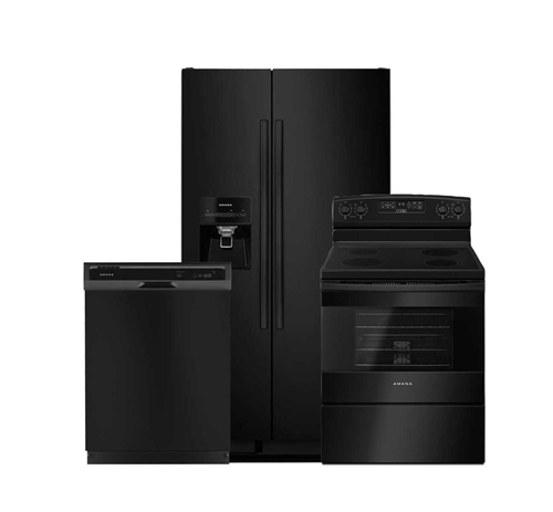 Picture of Amana 3pc Black Appliance Package