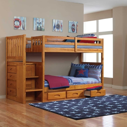 Picture of MADISON HONEY PINE TWIN FULL STAIRBED