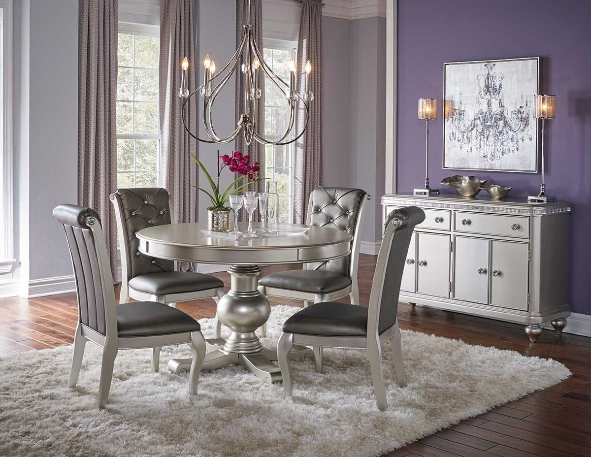 Hefner Silver Round Dining Table Badcock Amp More