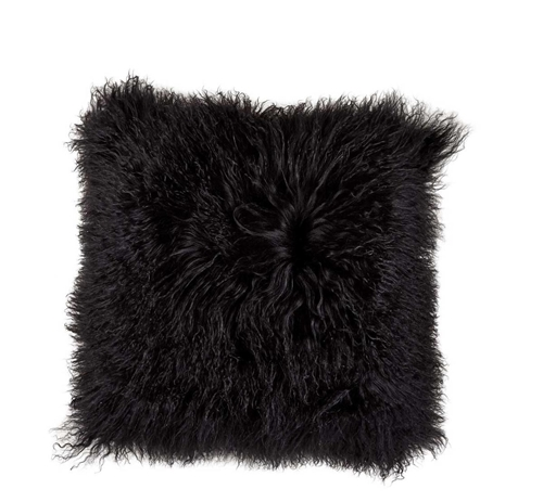 Picture of BLACK MONGOLIAN FUR THROW PILLOW