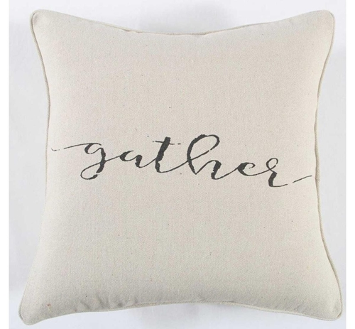 Picture of BLACK/CREAM GATHER THROW PILLOW