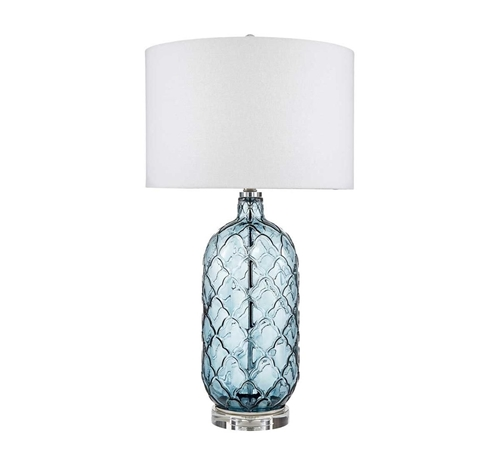 Picture of BLUE GLASS LAMP PAIR