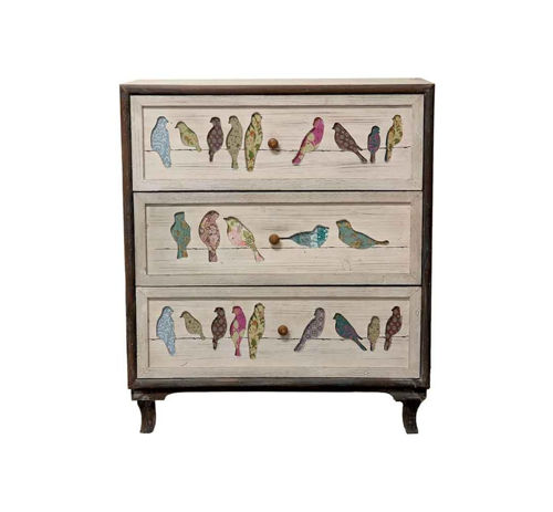 Picture of BIRDS ON A WIRE ACCENT CABINET