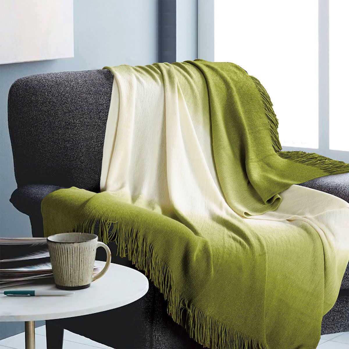 Ombre Green Throw Blanket