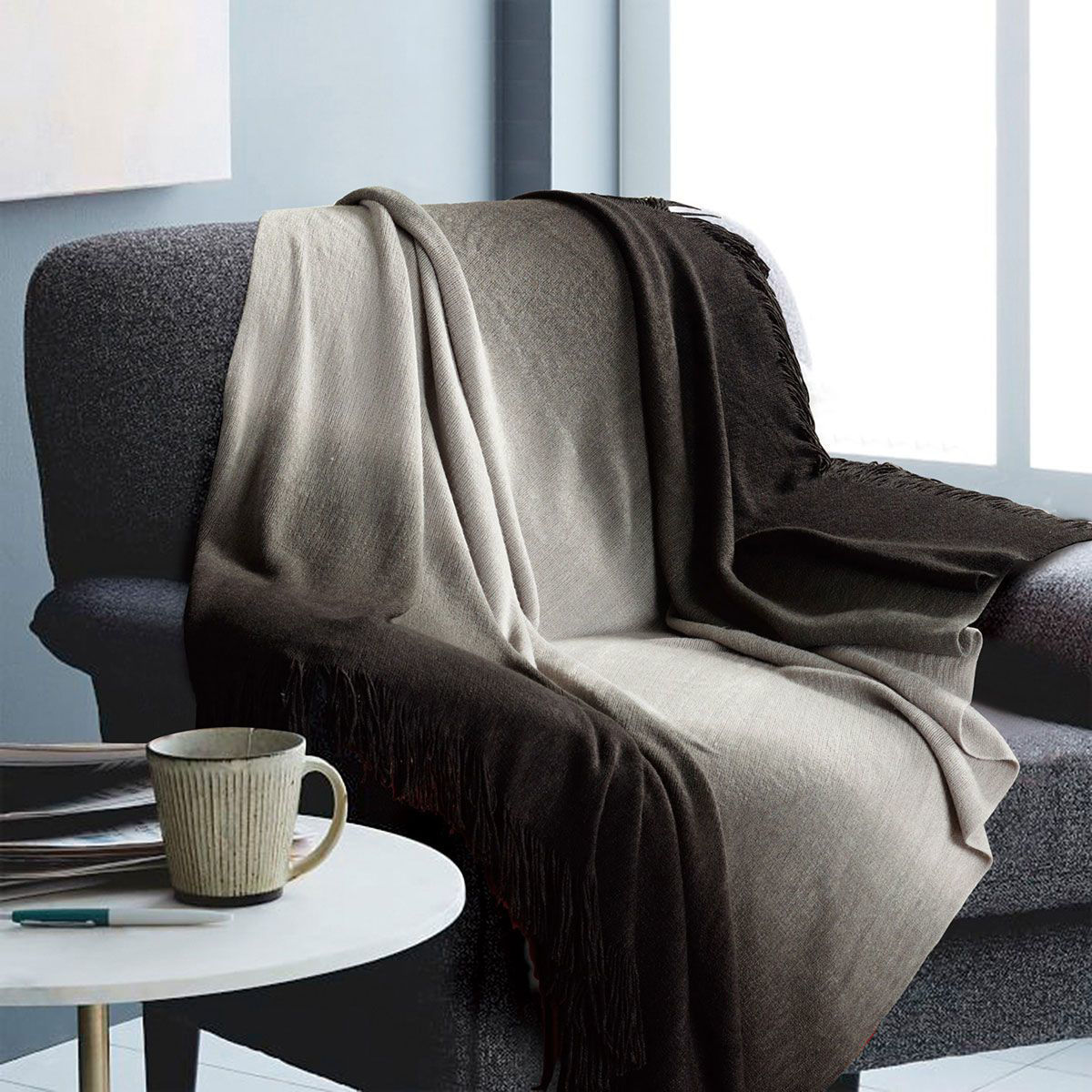 Picture of OMBRE CHARCOAL THROW BLANKET