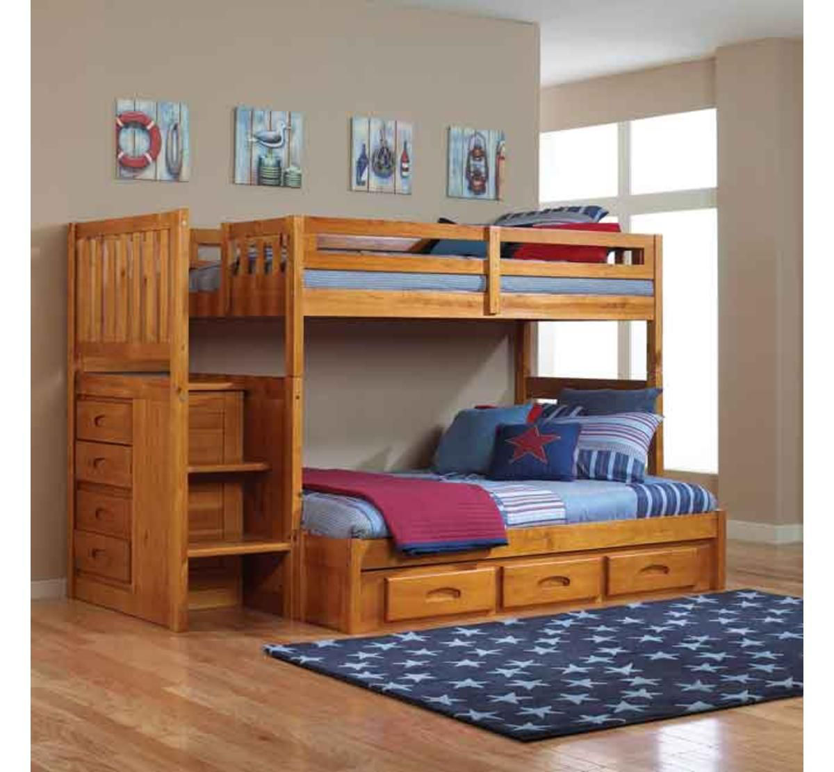 Picture of MADISON HONEY PINE TWIN OVER FULL STAIRBED