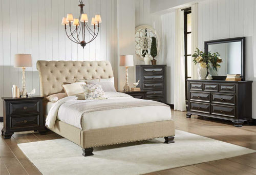 Picture of MANCHESTER 5 PIECE QUEEN UPHOLSTERED BEDROOM SET