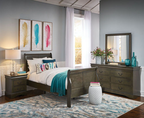 Picture of LEWISTON GREY 5 PIECE FULL BEDROOM SET