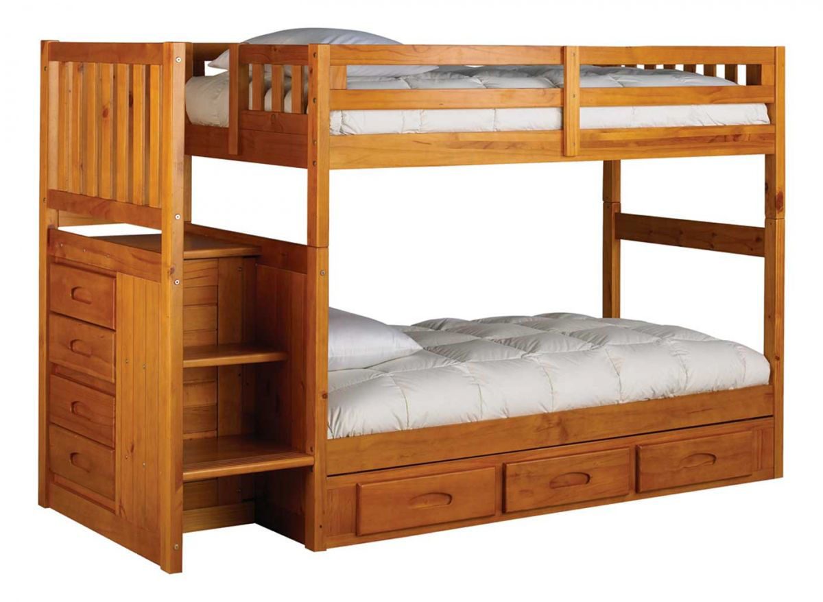 Picture of MADISON HONEY PINE TWIN OVER TWIN STAIRBED
