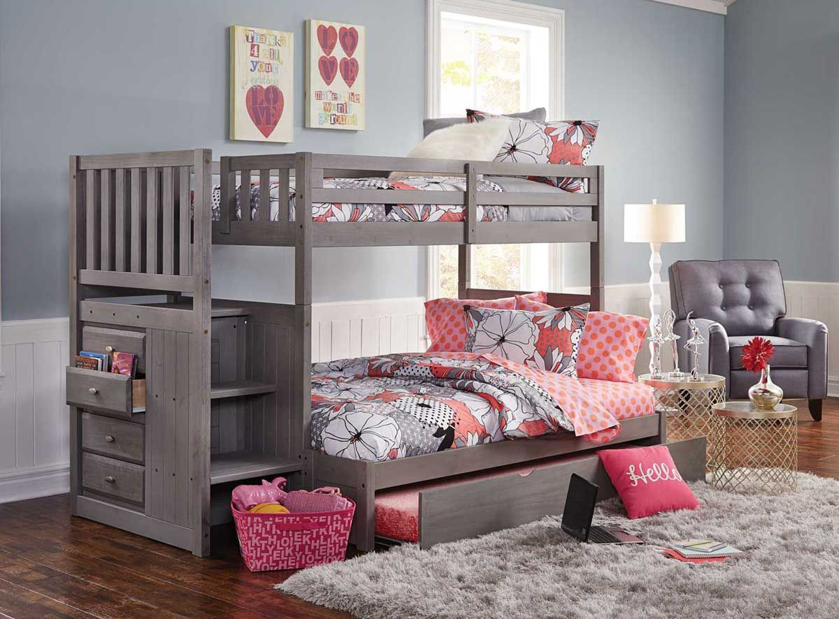 Picture of: Madison Grey Twin Full Stairbed Badcock Home Furniture More