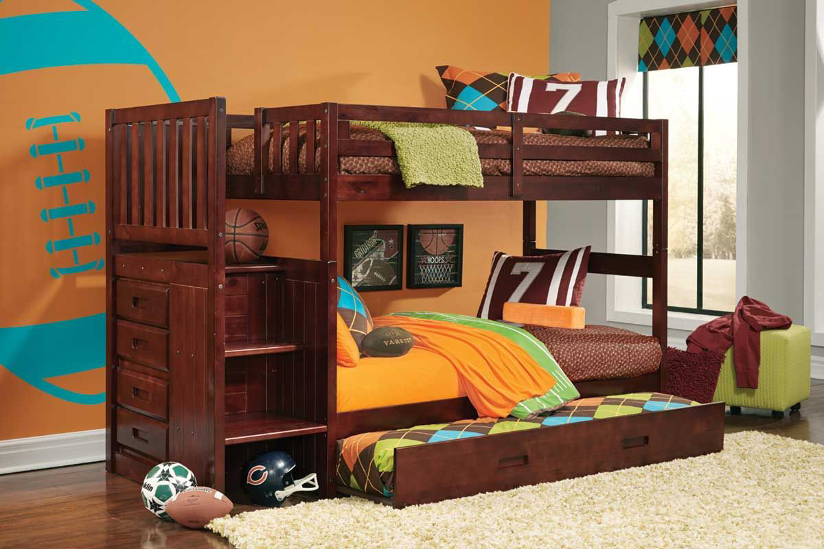 Picture of: Madison Merlot Twin Stairbed Badcock Home Furniture More