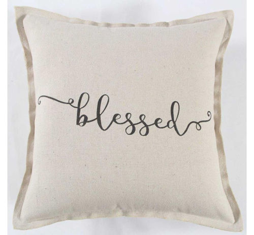 Picture of BLACK/CREAM BLESSED THROW PILLOW
