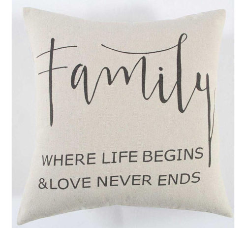 Picture of BLACK/CREAM FAMILY THROW PILLOW