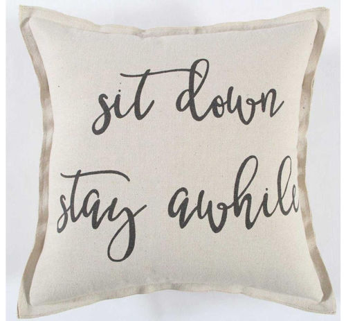 Picture of BLACK/CREAM SIT DOWN THROW PILLOW
