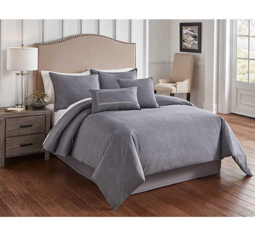 Picture of CHAMBRAY GREY 6 PIECE QUEEN LINEN SET