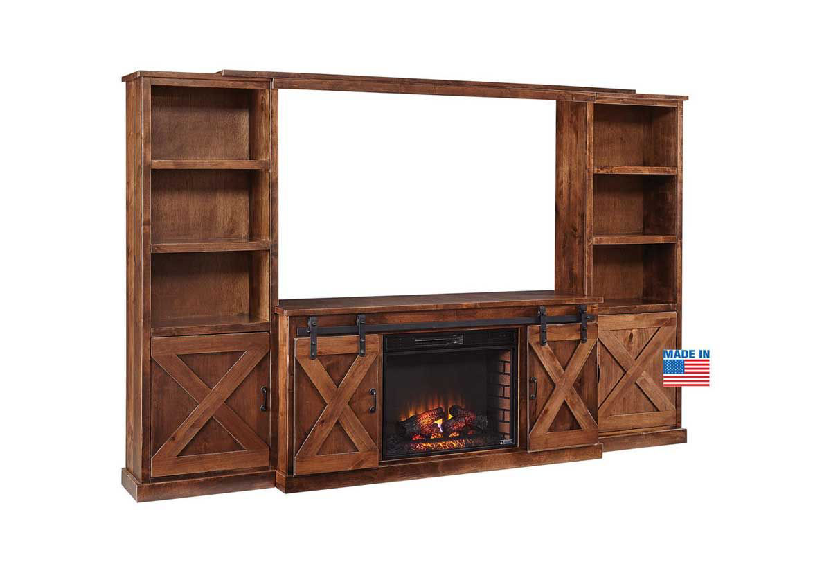 Farmhouse Fireplace Complete Wall Unit Badcock Home Furniture More