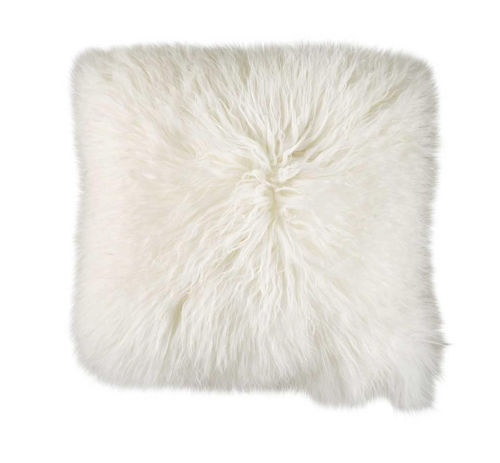Picture of WHITE MONGOLIAN FUR THROW PILLOW