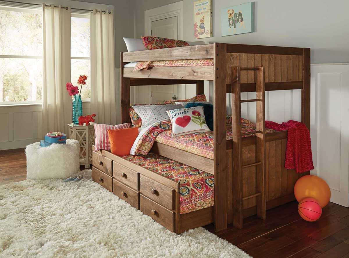 Picture of: Baylee Full Bunk Bed W Trundle Badcock Home Furniture More