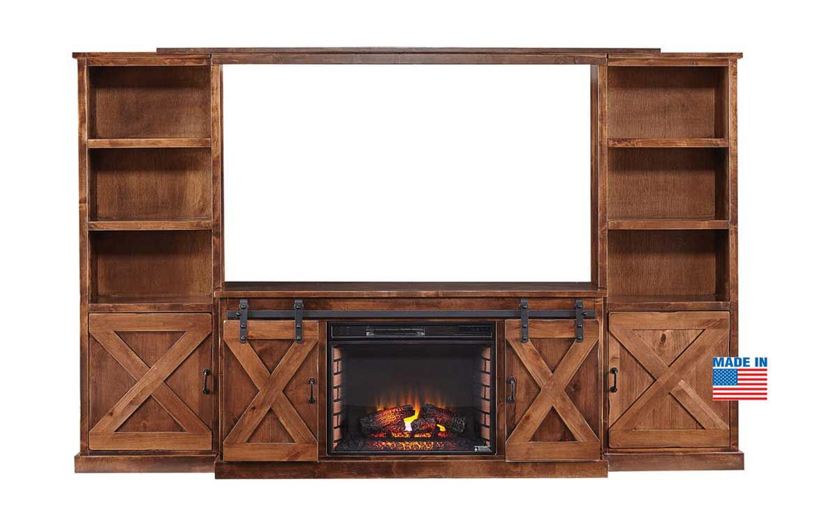 Picture of FARMHOUSE 4 PIECE FIREPLACE ENTERTAINMENT CONSOLE