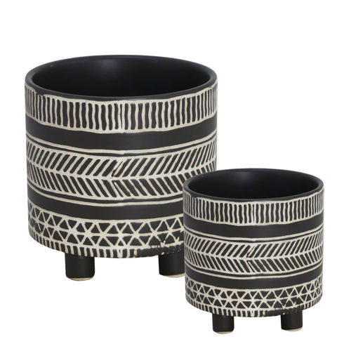 Picture of BLACK/WHITE GARDEN PLANTERS SET