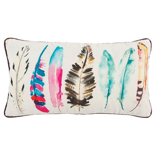 Picture of MULTI COLORED FEATHER THROW PILLOW