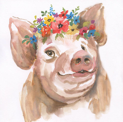 Picture of HAPPY PIG WALL ART