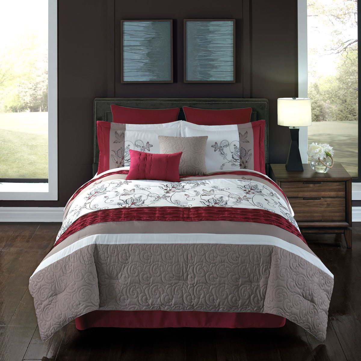 SPICE RED 8 PIECE KING LINEN SET