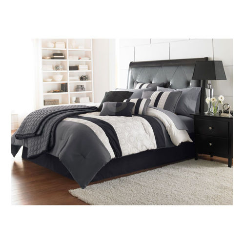 Picture of BLACK AND WHITE 7 PIECE QUEEN LINEN SET