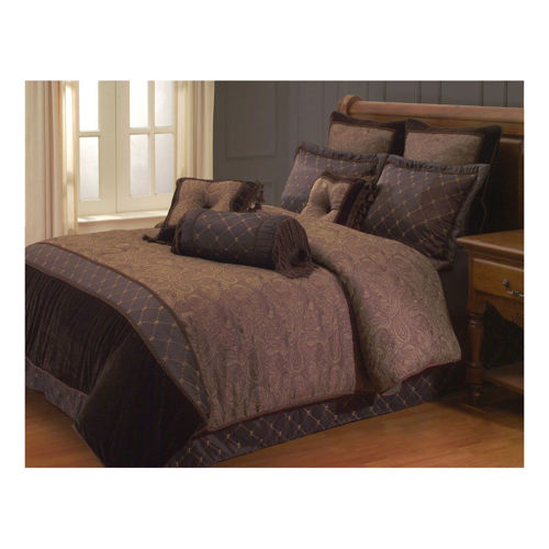 Picture of COZY BROWN 9 PIECE KING LINEN SET