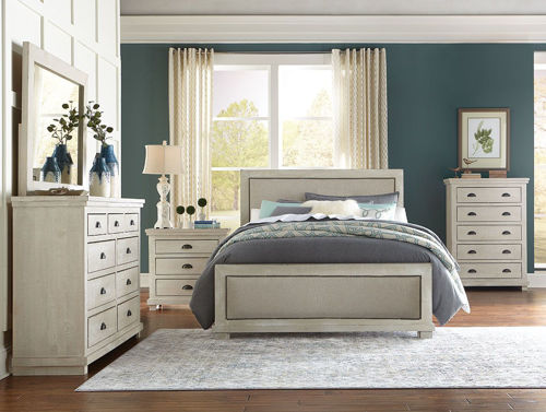 Picture of HOMESTEAD DOVE GREY 5 PIECE UPHOLSTERED KING BEDROOM SET
