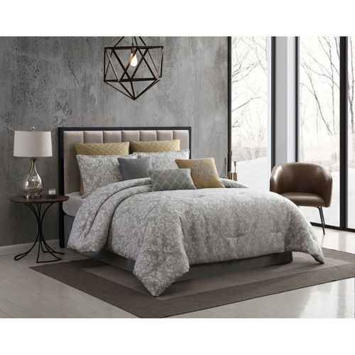 Picture of CONSERVATIVE GREY 9 PIECE QUEEN LINEN SET