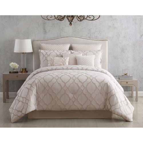Picture of ELEGANT WHITE 9 PIECE QUEEN LINEN SET