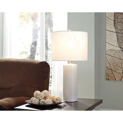 Picture of WHITE CERAMIC TABLE LAMP PAIR