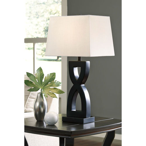 Picture of BLACK TWISTED TABLE LAMP PAIR